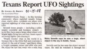 Stephenvilles UFO newspaper clip