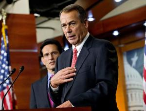 Above Right: House Minority Leader John Boehner (R-Ohio) and Whip Eric Canter (R-Va.), two staunch opponents of the Affordable Care Act, attend the House GOP Conference on Capital Hill in Washington, D.C., in 2010.