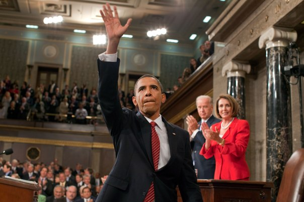 In 2009, President Barack Obama, Vice President Joe Biden and Speaker of the House Nancy Pelosi support Obamacare during a House Chamber session in Washington, D.C. Democratic leaders agree the health care battle isn't over yet.