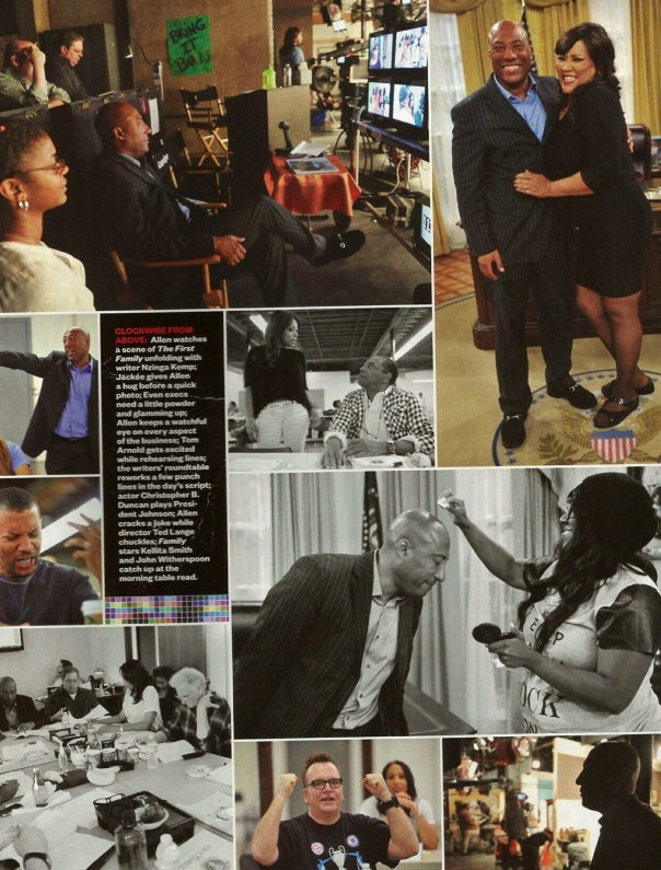 Clockwise from the Top Left: Allen watches a scene of The First Family unfolding with writer Nzinga Kemp; Jackee' gives Allen a hug before a quick photo; Even execs need a little powder and glamming up; Allen keeps a watchful eye on every aspect of the business; Tom Arnold gets excited while rehearsing lines; the writers' roundtable reworks a few punchlines in the day's script; actor Christopher B. Duncan plays President Johnson; allen cracks a joke while director Ted Lange chuckles; Family stars Kelita Smith  and John Witherspoon catch up at the morning table read.