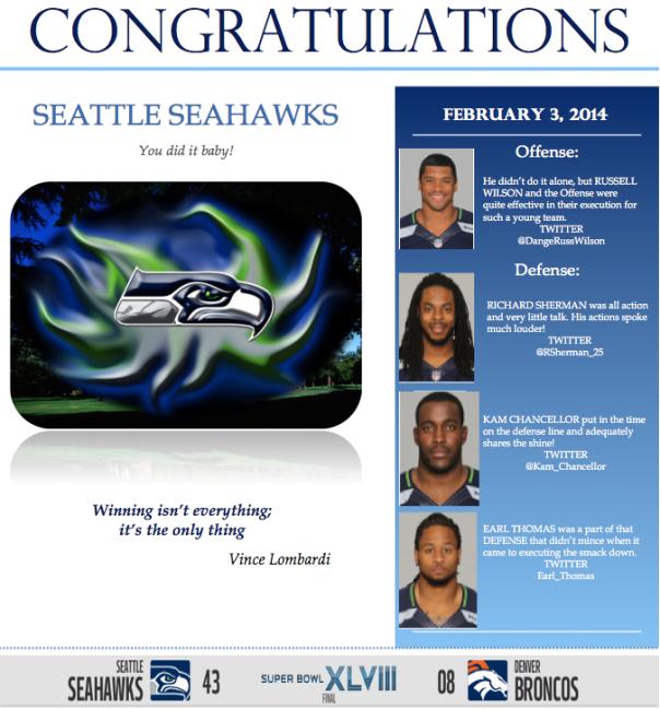 SeaHawks WIN Super Bowl XLVII NEWSLETTER